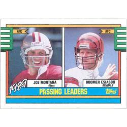 JOE MONTANA / BOOMER ESIASON 1990 TOPPS 1989 PASSING LEADERS